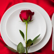 Place setting with red rose — Stock Photo #28778583