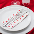 Romantic Dinner.Place setting for Valentine's Day — Stock Photo