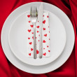Romantic Dinner.Place setting for Valentine's Day — Stock Photo #28779337