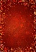 Fondo rojo navidad con copos de nieve del invierno — Foto de Stock