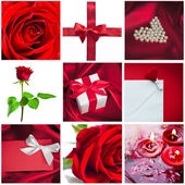 Gift with red bow — Stock Photo