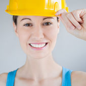 Woman with safety helmet — Stock Photo