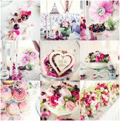 Wedding decorations collage — Stock Photo