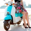 Girl and old scooter — Stock Photo