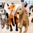 Plush animals hanging after washing — Stock Photo