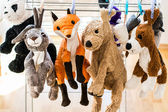 Plush animals hanging after washing — Stock Photo