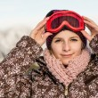 Sport woman in ski goggles — Stock Photo
