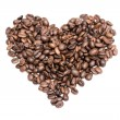 Heart from coffee beans isolated on a white background — Stock Photo