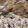 Stock Photo: Hiking boot closeup on mountain rocks