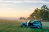 Car in the middle of nowhere — Stock Photo