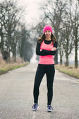 Runner - woman running outdoors training for marathon run — Stock Photo