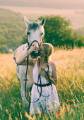 Blonde long hair woman kissing beautiful horse — Stock Photo