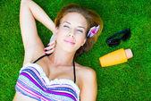 Tan, protection against harmful radiation. — Stock Photo