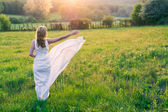 Beauty Romantic Girl Outdoors — Stock Photo