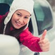 Smiling young pretty woman in the car — Stock Photo #49481365