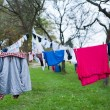 Laundry drying on the clothesline — Stock Photo #49586571