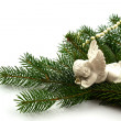 Pine branches with Christmas ornaments on white — Foto Stock