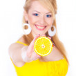 Woman with oranges — Stock Photo