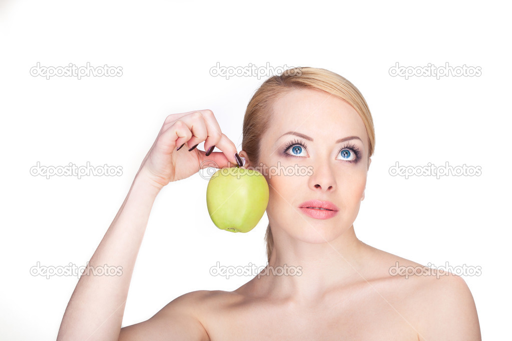 Bright closeup portrait picture of beautiful woman with green apple  Stock Photo #14059283