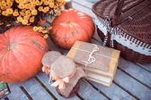 Flowers, pumpkins, jams and books — Stock Photo