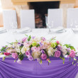 Tables decorated with flowers — Stock Photo