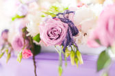 Tables decorated with flowers. Closeup details — Stock Photo