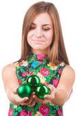 Young woman with christmas ball — Stock Photo