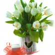 Beautiful tulips in basket and giftbox — Stock Photo