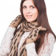 Portrait of a young girl in white sweater, scarf and mittens — Stock Photo
