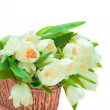 Beautiful tulips in basket — Stock Photo #34443569