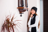 Girl in a hat and sweater — Stock Photo