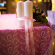 Candles tied with a pink ribbon — Foto de Stock
