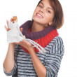 Teenage girl with nice puppet — Stock Photo