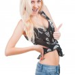 Woman showing thumb up — Stock Photo