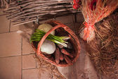 Vegetables in basket — Stock Photo