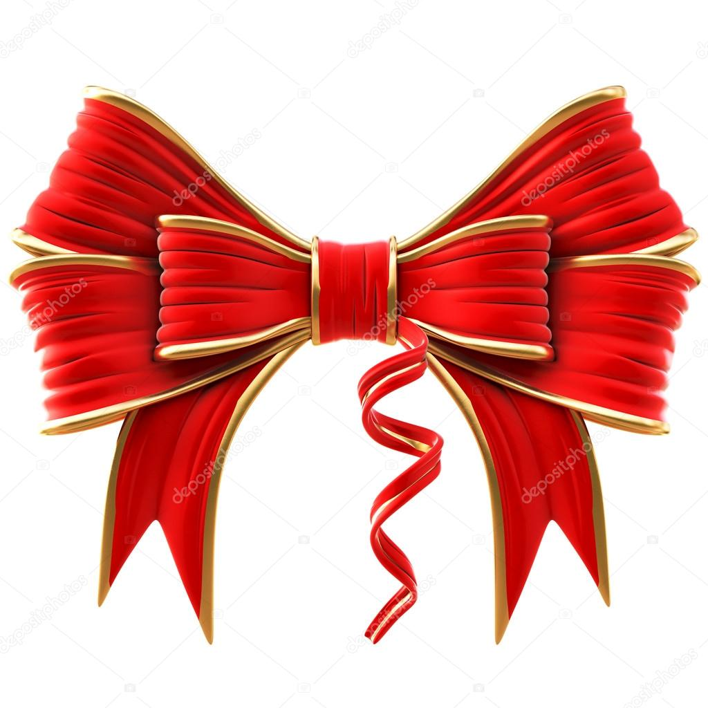 Red velvet bow. isolated on white. — Stock Photo #14045007