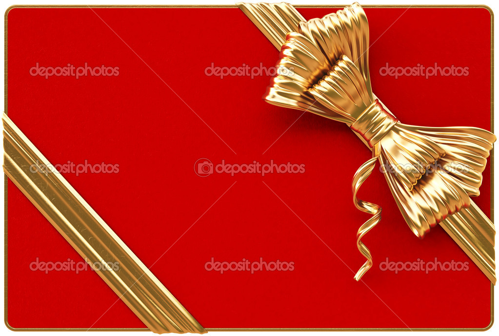 Red Christmas card with golden bow and ribbons. Isolated on white. — Lizenzfreies Foto #15764561