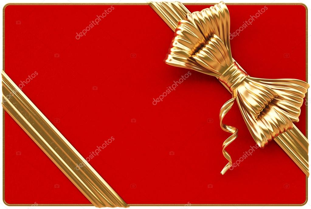 Red Christmas card with golden bow and ribbons. Isolated on white. — Foto Stock #15764561