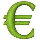 Euro sign made of green grass — Stock Photo