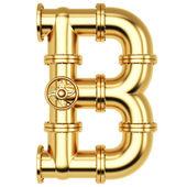 B письмо золотой алфавит — Стоковое фото