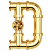 Golden Alphabet D letter — Stock Photo