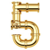 Golden Number 5 — Stock Photo