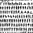 Large collection of children's silhouettes — Stock Vector