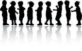 Silhouettes of children — Vector de stock