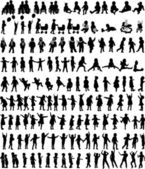 Large collection of children's silhouettes — 图库矢量图片