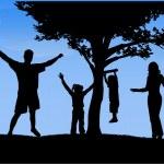 Happy family walking — Stock Vector #29657649