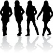 Silhouettes of women — Stock Vector