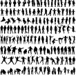 People Mix Silhouettes, vector work  — Stok Vektör
