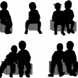 Group of children's silhouettes — Image vectorielle