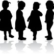 Silhouettes of children — Image vectorielle
